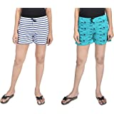 A9- Women Printed White, Green Shorts - Pack of 2