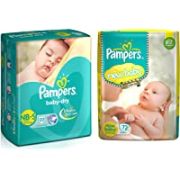 Pampers Active Baby Diapers, New Born, 72 Count & Pampers Baby Dry Diapers, New Born, 22 Count
