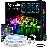 Sylvwin Tiras LED 10m,Tiras de Luces LED 10m RGB con Sincronización Musical,Aplicación Bluetooth y 40 Botones Control Remoto