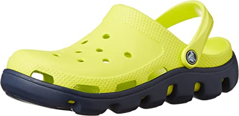 crocs Unisex Duet Sport Canary and Cerulean Blue Rubber Clogs and Mules
