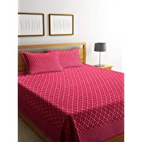 NEUDIS by Dhrohar Hand Woven Jacquard Premium Cotton Double Bed Cover with 2 Pillow Covers - Red - (225 X 254 cms)