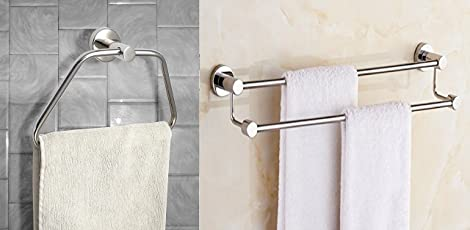 INDISWAN™ Stainless Steel 24-Inch Double Rod Towel Holder & Glossy Towel/Napkin Ring - Bathroom Towel Holder (Pack of 2)