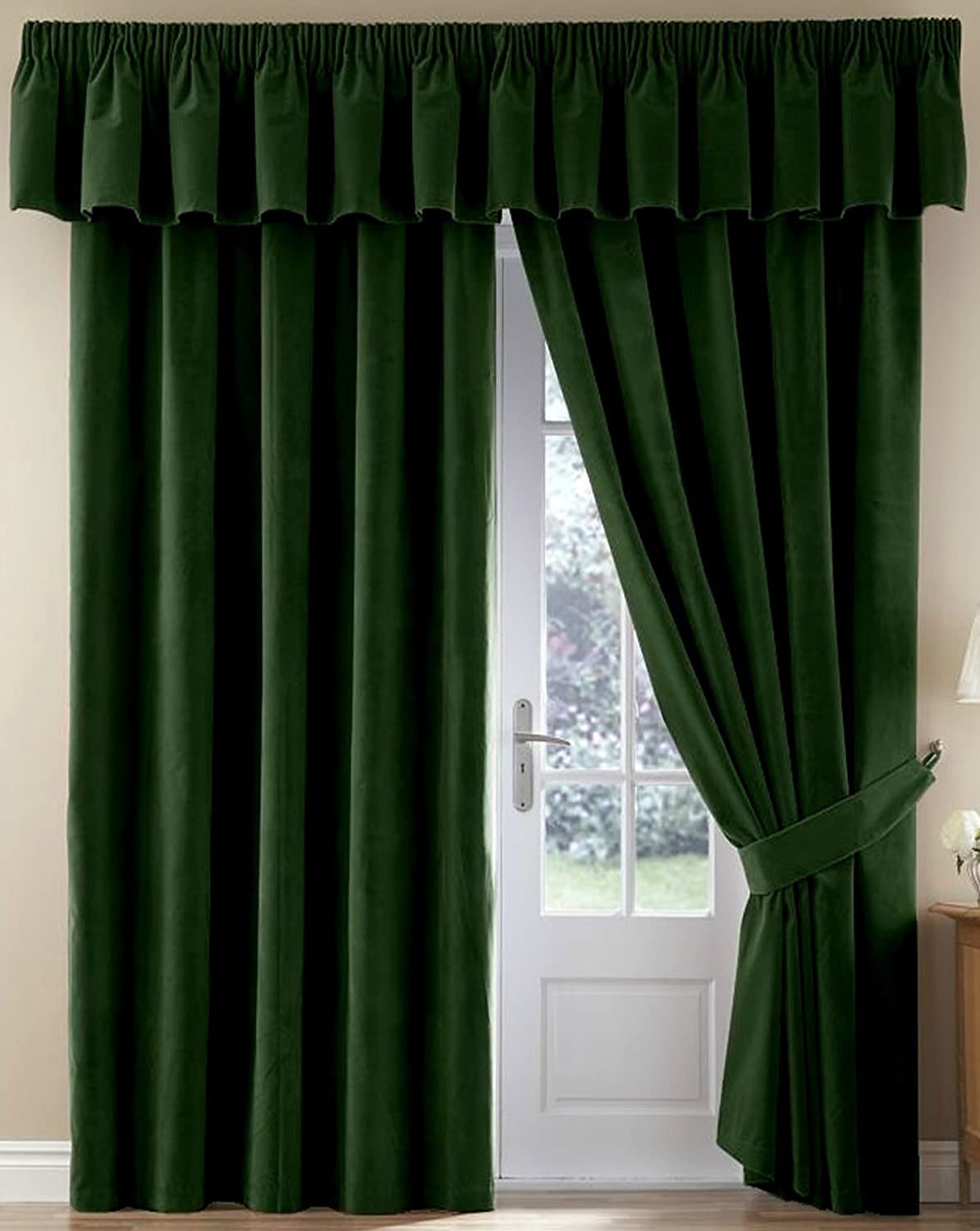 Thermal Velour Velvet Curtains Finished In Bottle Green 90
