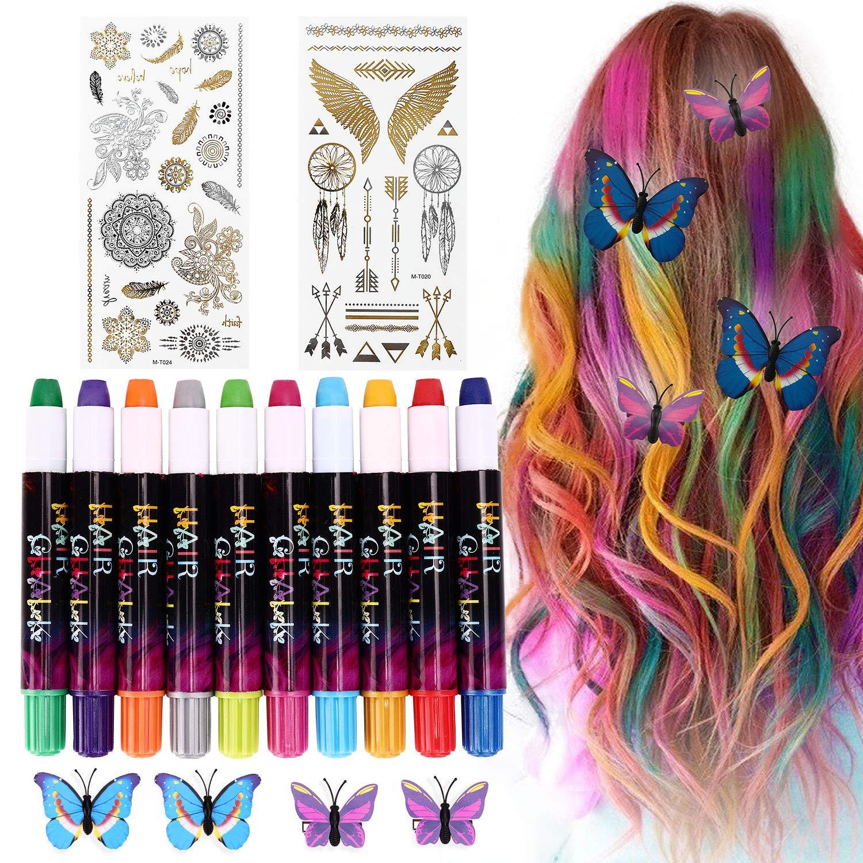 Tiza de Pelo,10 Colores Coloración Temporal Cabello, Dont Have Tóxico Lavables Cabello Tiza Set, Niñas Regalos para DIY…