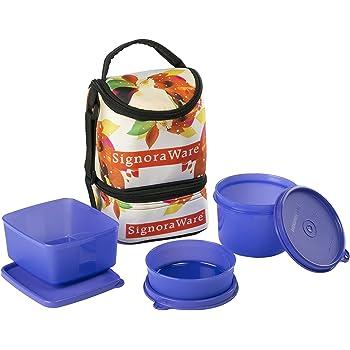 Signoraware Blossom Trio Lunch Box with Bag Set, 3-Pieces, Deep Violet
