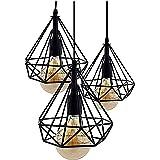 Lámpara de Techo Vintage 3L Cage Retro Iluminación E27 Capacidad AC220-240 V para Comedor, Dormitorio, Café, Barra de Lectura