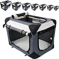 EUGAD Hundebox Hundetransportbox Auto Transportbox Reisebox Katzenbox Autobox Box mit Hundedecke Braun Grau Schwarz S-XXXXL #487