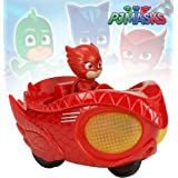 pj masks scale 1:43 diecast mission racer owlette action figure toy playset for kids wiith light and sound effect, 12 cm- Mul
