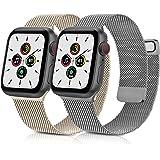 AYOU 2 Pack Correa Compatible con Correa Apple Watch 38mm 40mm 42mm 44mm, Nueva Pulsera de Repuesto Metal de Acero Inoxidable