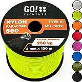 GO!elements 100m Paracord gemaakt van Nylon Rope - 4mm Paracord 550 Type III - geschikt als koord, waslijn touw, etc. | Max.