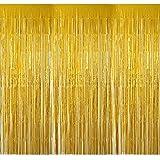 4 Packung Lametta Vorhang Glitzer Gold Glitzervorhang Fringe Vorhang Fransen Vorhang Lametta Girlande Party Vorhang Metallfolie Vorhang für Party Deko,Hochzeitsdeko,geburtstagsparty Silvester deko