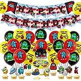 32 Piezas, Globos Cumpleaños para Among Us Videojuegos Decoraciones de Fiesta Happy Birthday Banner Redondo Globos de Látex C