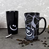 Gift Republic Grijnsekat koffiemok, porselein, zwart, 8,5 x 14 x 15 cm