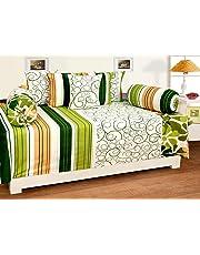 Zainhome Diwan Cotton Green White Stripes - Set of 8 Pieces