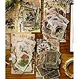 240 Pcs Autocollants Thème du timbre, Stickers bâtiment Plantes Fleurs Animaux Sauvages Papillons pour Scrapbooking Deco de D