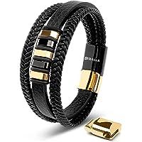 SERASAR | Premium Echtlederarmband für Männer in Schwarz | Magnetverschluss aus Edelstahl in Silber & Gold | Inklusive…