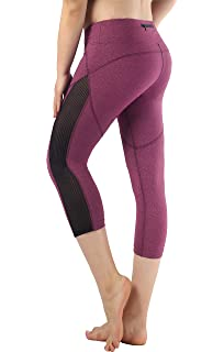 Munvot Legging Femmes Sport Jogging Capri Yoga Fitness Shorty Noir Séchage  Rapide avec Poches Taille Grande 7cd46471558