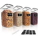 Vtopmart 4L Grands Boite de Conservation Alimentaire sans BPA pour Cuisine Pantry, Ensemble De 4 24 Étiquettes, pour Céréales