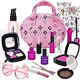 FancyWhoop Fantasiespel Make-up Kit voor meisjes 15-delig Kids Fake Cosmetic Toys Kit Rollenspel Make-up set met 2 vellen Jew