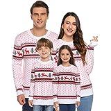 Abollria Maglioni Natale Famiglia Maglione Natalizio a Manica Lunga di Donna Uomo Bambino Coppia Maglioncino Girocollo Pullov