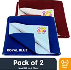 Bey Bee Waterproof Bed Protector Dry Sheet Gifts Pack, Small, Royal Blue/Maroon (Pack of 2)