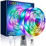 Inscrok Música Tira LED 10M, 300LEDs Luces LED Habitacion con Remoto y Fuente de ETL/UL Alimentación, Tiras LED 5050smd RGB D