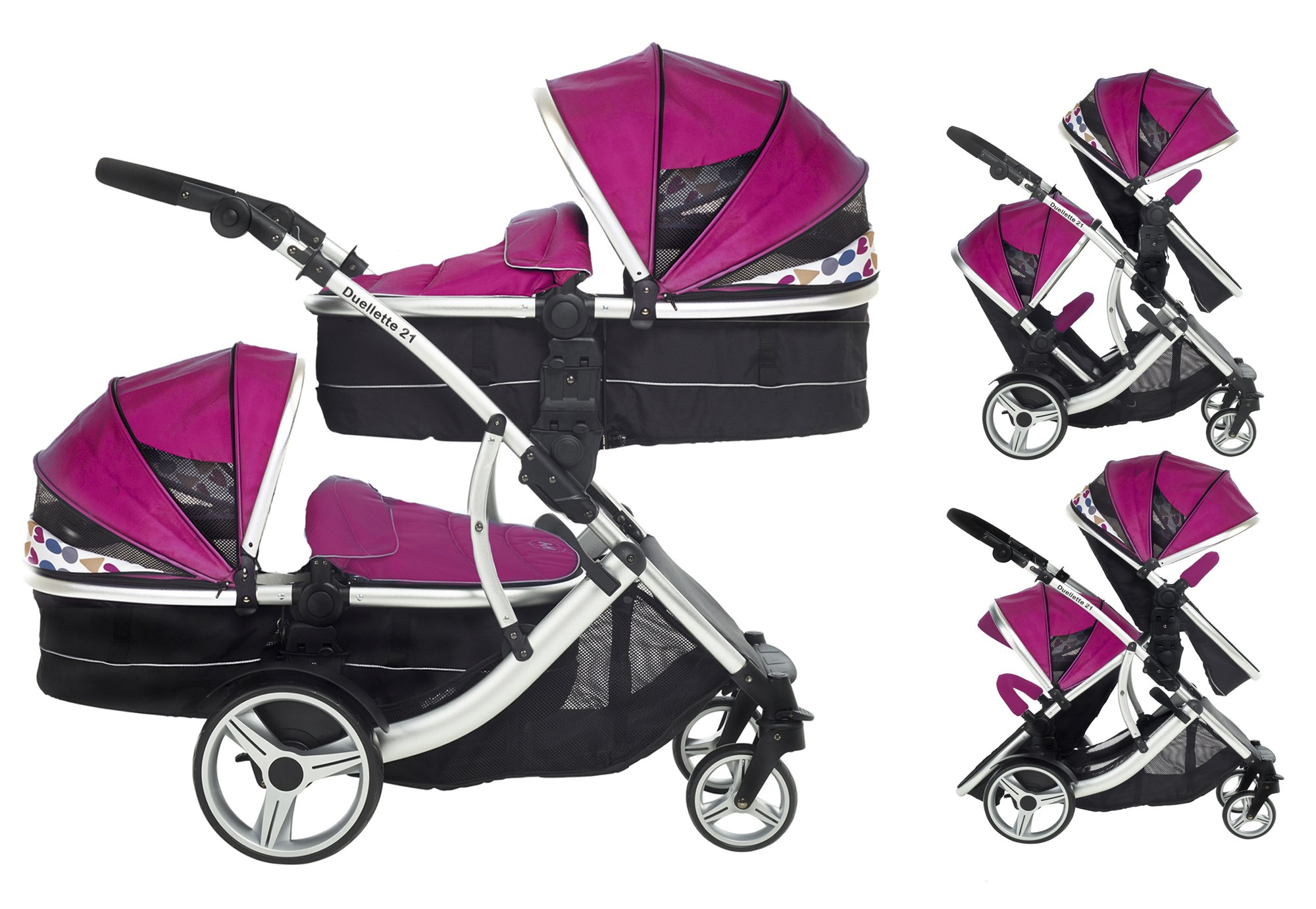 Kids Kargo Double Twin Tandem Pushchair. Duellette Combi Suitable from birth, Carrycot converts to toddler seat unit. Stroller by Kids Kargo (Dooglebug Raspberry)  Versatile. Suitable for Newborn Twins Compatible with car seats; Kidz Kargo, Britax Baby safe or Maxi Cosi adaptors. carrycots have mattress and soft lining, which zip off. Remove lining and lid, when baby grows out of carrycot mode, converts to seat unit 1