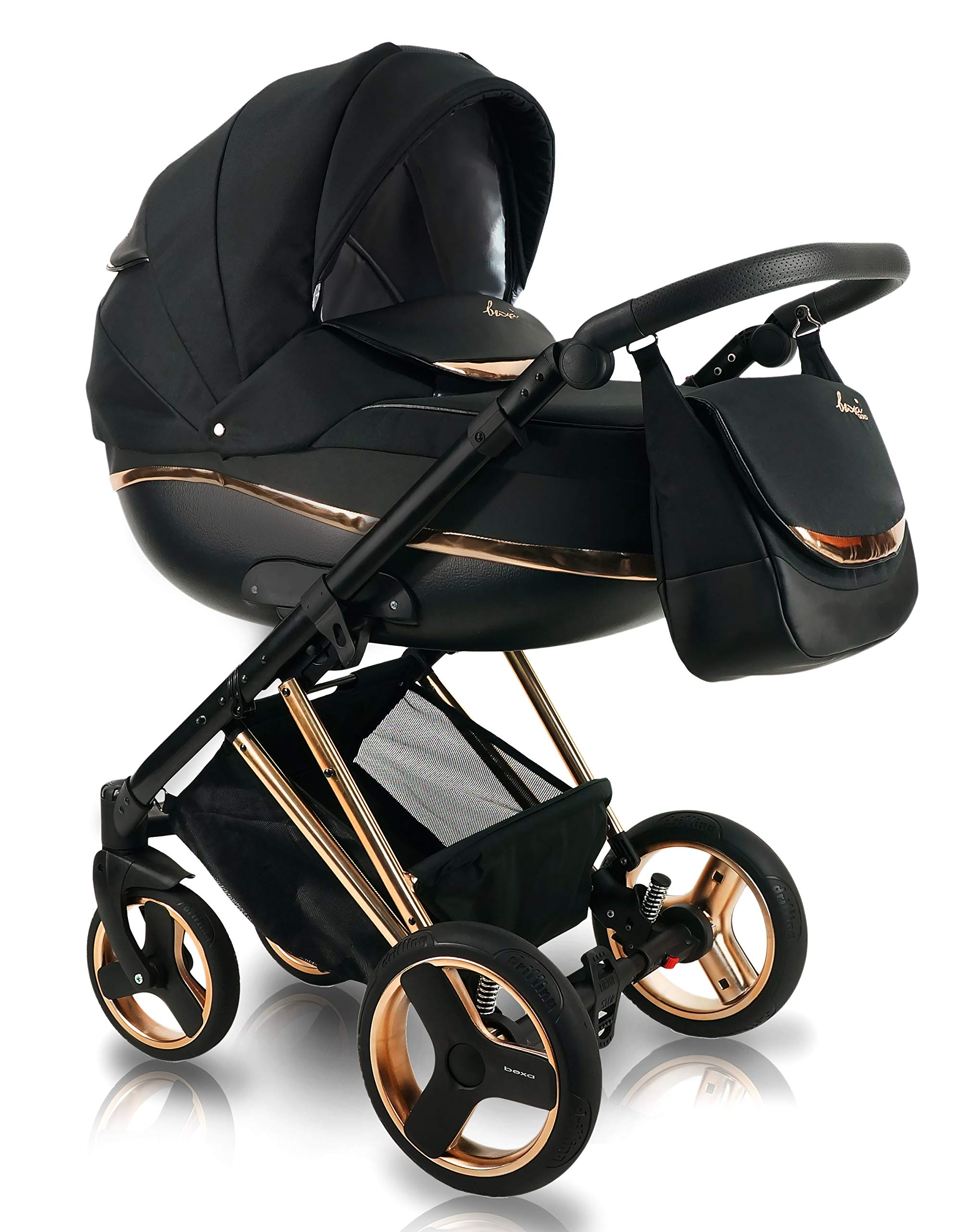 SaintBaby Stroller Buggy Baby seat Car seat Next II Gold Chrome Gold N1 4in1 with Isofix SaintBaby If you want the black frame instead of the gold frame, please inform us after the purchase. 3in1 or 2in1 Selectable. At 3in1 you will also receive the car seat (baby seat). Of course you get the baby tub (classic pram) as well as the buggy attachment (sports seat) no matter if 2in1 or 3in1. The car naturally complies with the EU safety standard EN1888. During production and before shipment, each wagon is carefully inspected so that you can be sure you have one of the best wagons. Saintbaby stands for all-in-one carefree packages, so you will also receive a diaper bag in the same colour as the car as well as rain and insect protection free of charge. With all the colours of this pram you will find the pram of your dreams. 1
