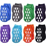 Calcetines tobilleros antideslizantes para niños, calcetines antideslizantes de corte bajo, para bebés de 1 a 3 años, 8 pares