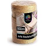 OfficeTree Jute Touw Rol 100 M - Bindtouw Jute Knutselsnoer - Jutegaren Bindtouw Bruin - Hoogwaardig Natuurproduct voor Huish