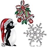 Spilla di Cristallo di Strass, Spilla di Moda Elegante per Spilla per Celebrazione della Festa, 3 Pezzi (Fiocco di Neve Bianc