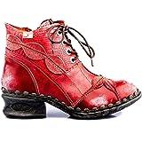 TMA 5188A Stivaletti da Donna alla Moda, in Pelle, Colore Rosso, Tutte Le Taglie 36-42