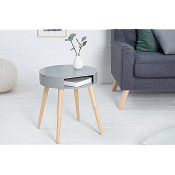 Relaxdays Beistelltisch Rund, Schublade, Skandinavisches Design, Couchtisch  Oder Nachttisch, HxØ: 52 X 40 Cm, Holz, ...