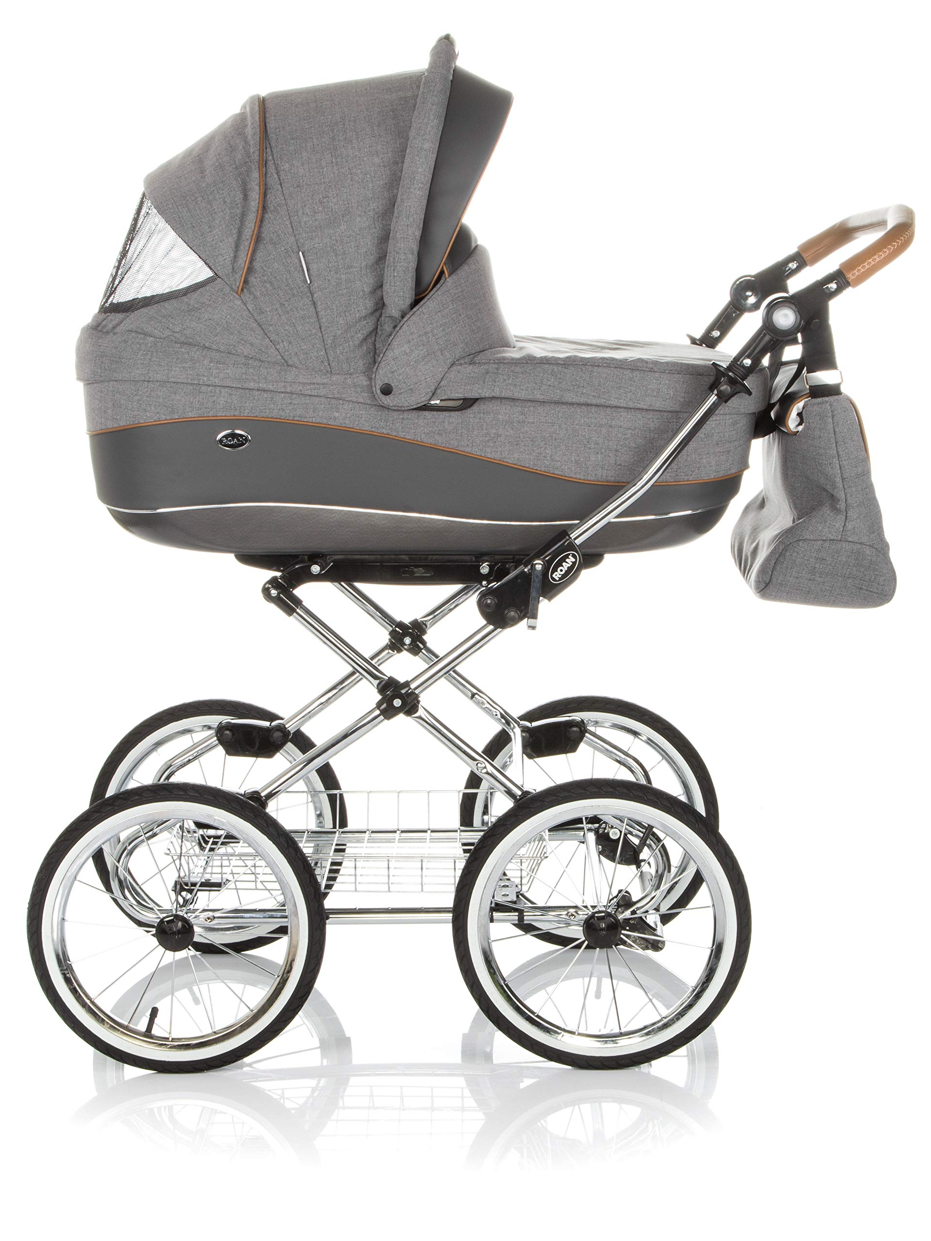 Children's Pram Buggy Stroller Combination Car seat Classic Retro Baby Carrier ROAN Emma (E-56 Grey-Grey Leather, 3IN1) JUNAMA Frame / wheels Sturdy and lightweight aluminum frame construction with folding function 1-click system for easy assembly and disassembly Practical carrying handle for easy storage of the folded frame Wheels for inflating (14 inch) removable wheels Brake system with central brake Height-adjustable push handle - 10-fold matching shopping basket Dimensions folded with wheels: 86 x 60 x 40 cm folded without wheels: 76 x 60 x 26 cm Total height of the stroller to hood top: 106 cm Height of the tub from the ground: 60 cm Wheelbase External dimensions: 80x 58 cm Variable height of the push handle: 77- 119 cm Weight of the frame incl. Wheels and carrying bag 15 kg Carrycot Length and width of carrycot outside: 88 x 42 cm Carrying bag length and width inside: 76 x 35 cm Sturdy plastic tub with comfortable mattress and side protection Ventilation slots on the plastic tub The baby car seat 0-13 kg Maxi-Cosi in black incl. Adapter 3