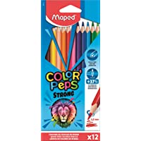 Maped - Crayons de Couleur STRONG Color'Peps - 12 Crayons de Coloriage Ultra-résistants et Ergonomique - Pochette carton…