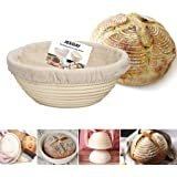 "8"" Round Brotform Banneton Proofing Baskets with Linen Liner Clot, Dough Rising Rattan Bread Bowl for Professional & Home Bakers (Round Shape, 8"")"