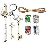 NuoYa005 Attack on Titan Emblems, Keychains, Key Necklace and Sword 9 Piece Jewelry Set,Shingeki no Kyojin Set