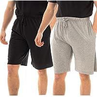 INSIGNIA Mens Jersefy Soft Plain Pyjamas Lounge Shorts Bottoms Jersefy Soft (2 Pack)