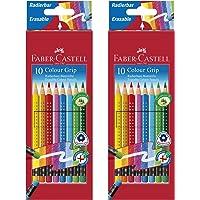 Faber-Castell 10er Etui Buntstifte Colour Grip radierbar, 2 Packungen
