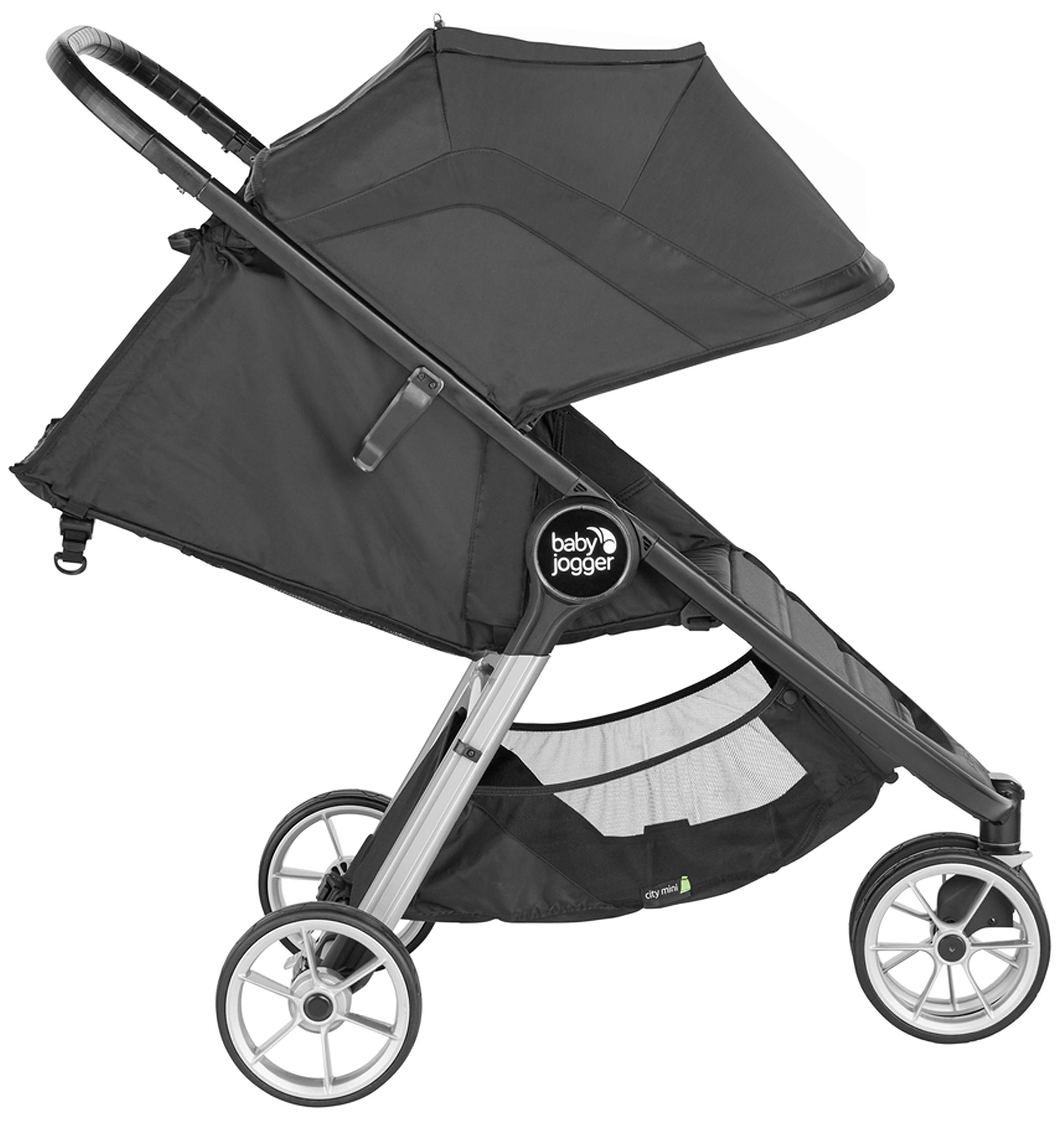 baby jogger City Mini 2 Single Stroller Jet Baby Jogger The baby jogger city mini 2 has an all new lightweight and compact design with the signature one-hand compact fold, with an auto-lock it's remarkably nimble and ready for adventure Lift a strap with one hand and the city mini 2 folds itself: simply and compactly. The auto-lock will lock the fold for transportation or storage The seat, with an adjustable calf support and near-flat recline, holds a child weighing up to 22kg and includes a 5-point stroller harness to keep them comfortable and safely secured 4