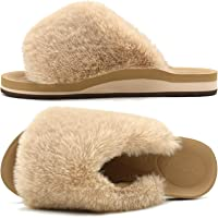 COFACE Womens Fur Sliders Ladies Fluffy Faux Fur Slippers Cosy Fuzzy Open Toe House Sandals Slip On Comfy Plush Furry…