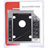 SNDIA SATA Optical Bay 2nd Hard Drive Caddy Universal for 9.5mm CD/DVD Drive Slot (for SSD and HDD) (9.5mm Universal)