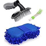 Jixi™ Hub Combo of 1 Car Tyre Cleaning Brush, 1 Car AC Vent Cleaner and 1 Big Size Car Cleaning Sponge