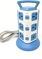 Cellphonez 3 Layers with 11 EU Outlets and 2 Ports 2.1A USB Smart Power Sockets, Overload Protector. (11 Sockets with 2 USB Ports)