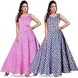 Trendy Fab Women's Cotton Jaipuri Printed Maxi Long Dress (Multicolour, Free Size) -Combo of 2 Pieces