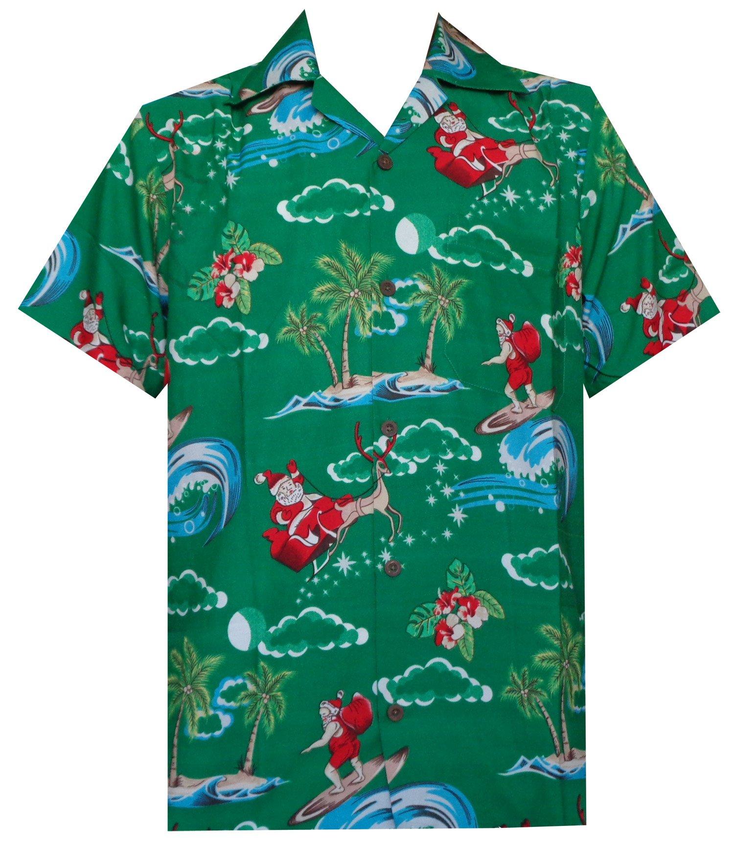 Hawaiian Shirt Mens Christmas Santa Claus Party Aloha Holiday ...
