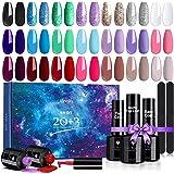 Janolia Esmaltes Semipermanentes 23 pcs, 20 Colores de Uñas en Gel UV LED con Base, Capa Superior Brillante y Mate, para Saló
