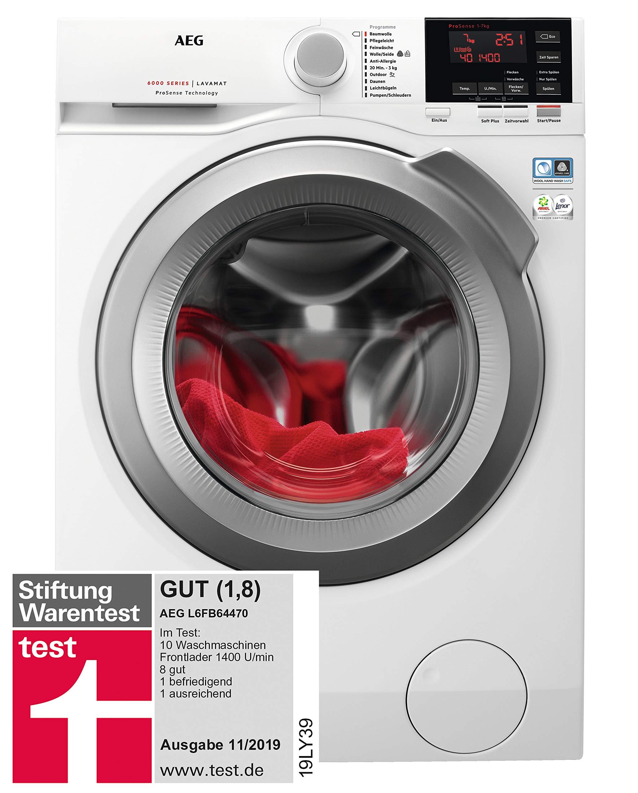 AEG L6FB64470 Waschmaschine Frontlader, 7 kg Füllmenge, weiß