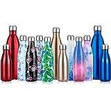 Bouteille d'eau en Acier Inoxydable Isotherme, Gourde Inox Réutilisable sans BPA isolé à Double Paroi Gourde Isotherme 350/50