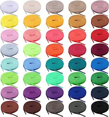BQTQ 40 Paia Lacci per Scarpe Colorati Lacci Piatti per Scarpe Sportive, 40 Colori